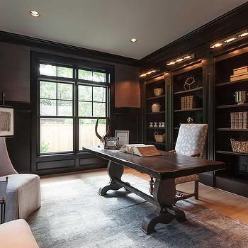 office wainscoting ideas. black paneled office with trestle desk wainscoting ideas s