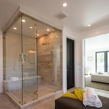 corner walk in shower with taupe tiles - Walk In Shower Design Ideas