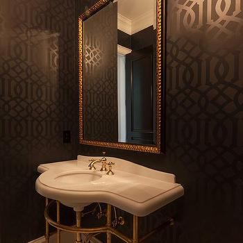Black And Gold Powder Room With Gold Oval Sunburst Mirror