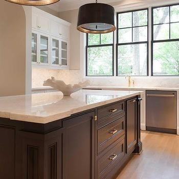 Black and white kitchen with arteriors anderson iron for Anderson kitchen cabinets