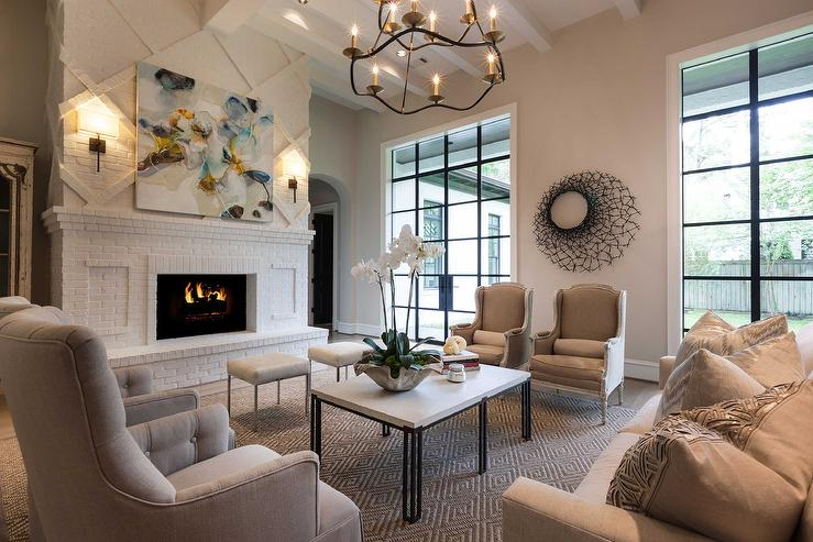 White And Beige Living Room With Brick Fireplace Hearth