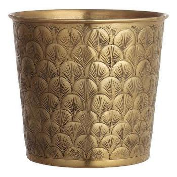 Embossed Gold Large Metal Plant Pot
