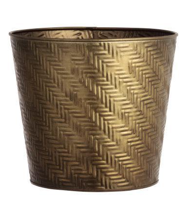 Embossed Gold Large Metal Plant Pot