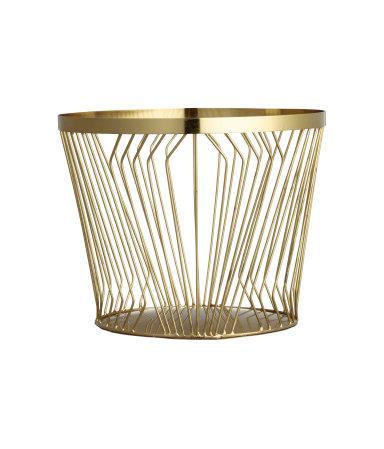 Gold Metal Wire Round Basket