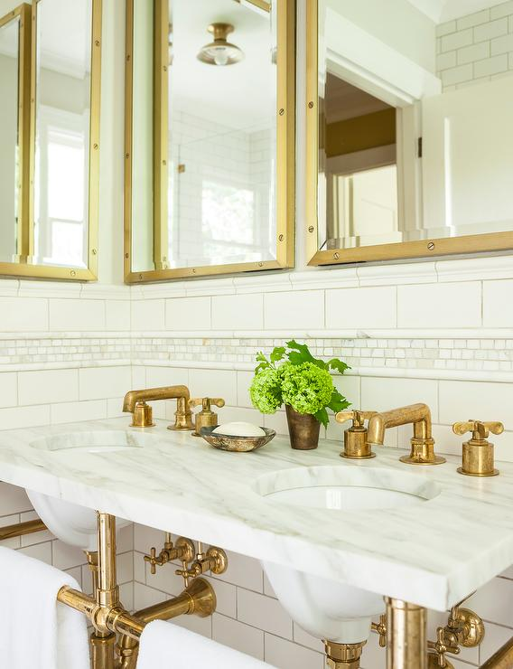 Marble And Brass Double Washstand With Shelf And Gray
