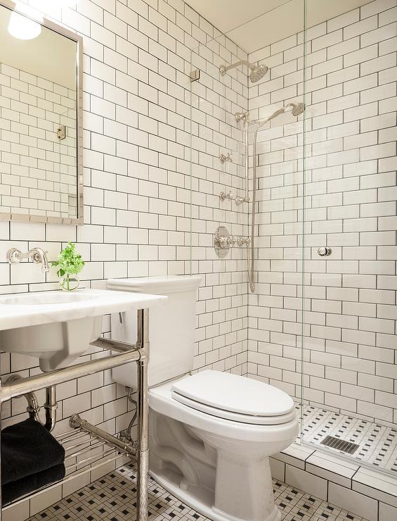 Black and white bathroom with white subway tiles accented - White subway tile with black grout bathroom ...