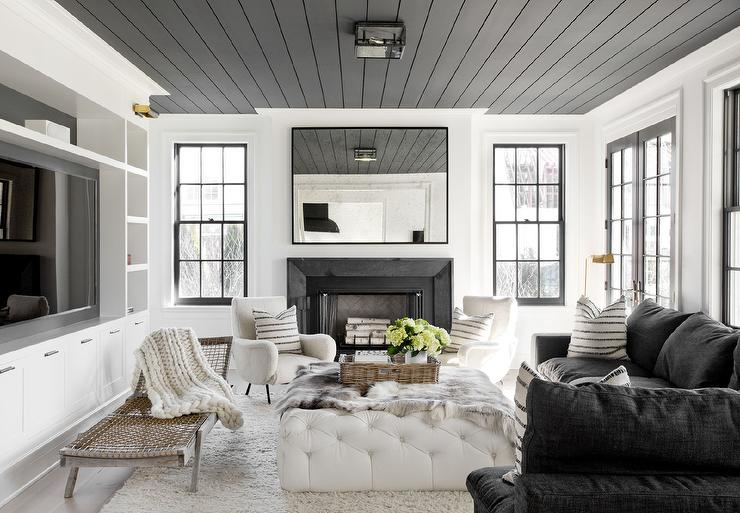 View Full Size. Well Appointed Black And White Living Room Boasts A Striking  ...