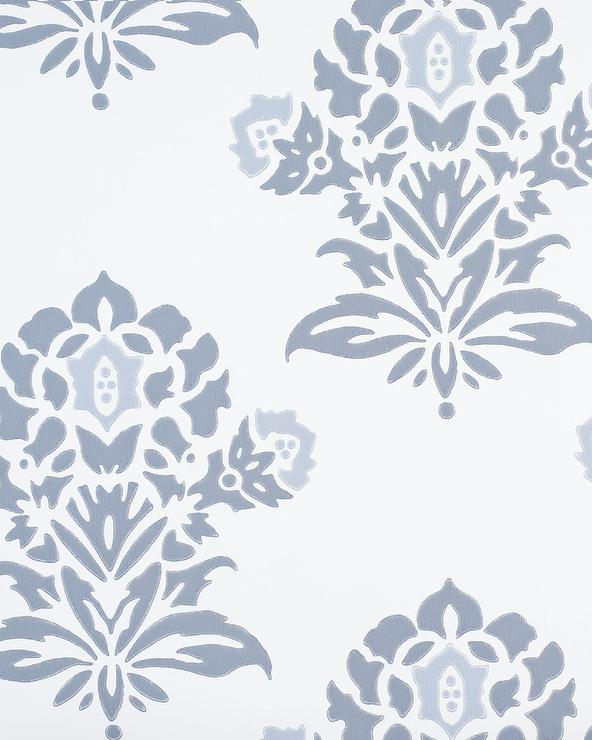 Block Print Wallpaper Interesting With Navy and White Floral Background Image