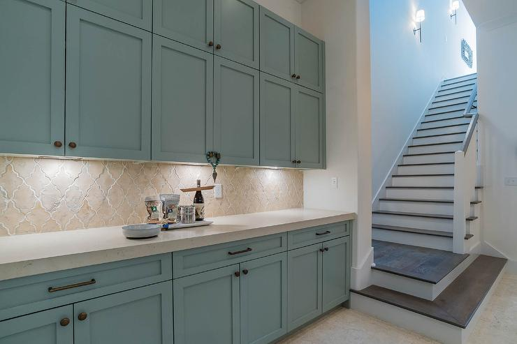 Blue Kitchen Cabinets With Arabesque Backsplash Tiles