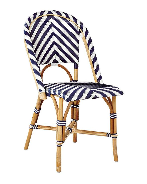 Navy And White Chevron Woven Side Chair