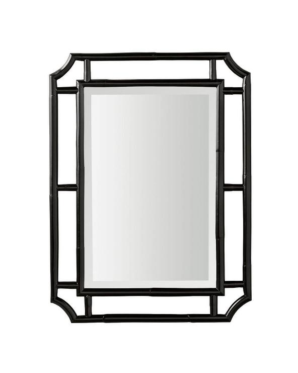 Black Clipped Corners Framed Mirror