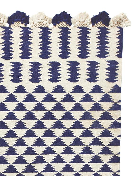 Zig Zag Design Navy Dhurrie Rug View Full Size