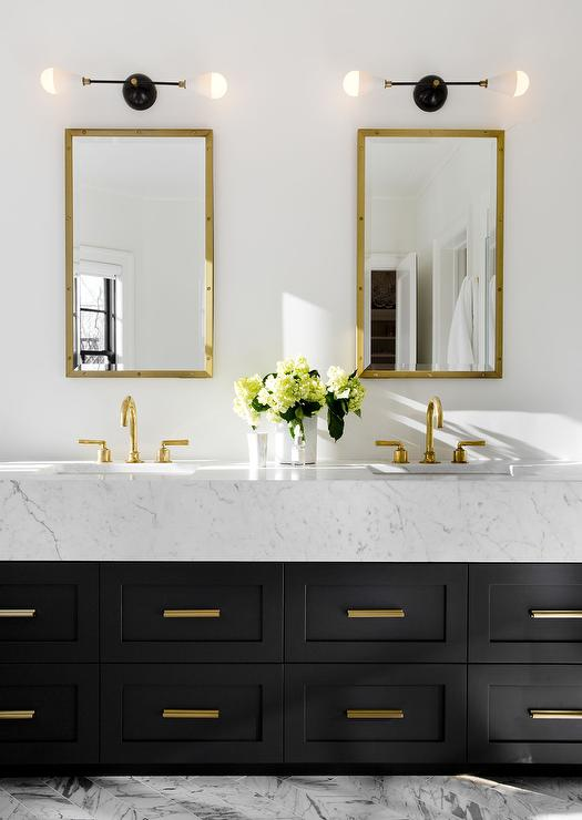 Gold and Black Bathroom with Gold Rivet Medicine Cabinets ...