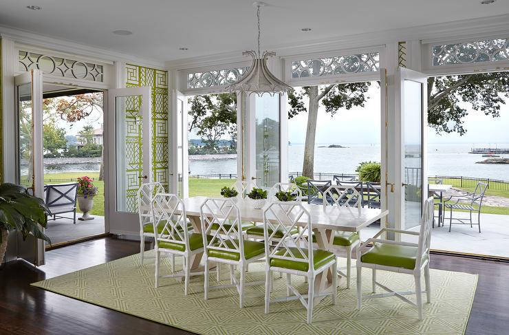 White And Green Hollywood Regency Dining Room With Quadrille