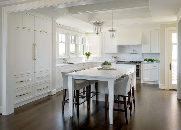 White KItchen Island With Legs As Dining Table Lined Heather Gray Counter Stools