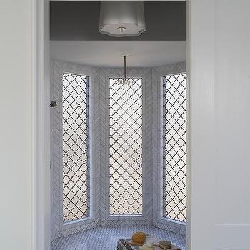 Oriel Bay Window Shower With Marble Basketweave Shower Floor