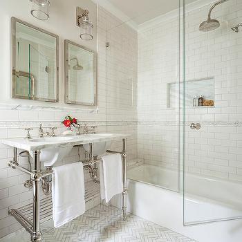 Bryant Sconces On Frameless Vanity Mirror Transitional Bathroom
