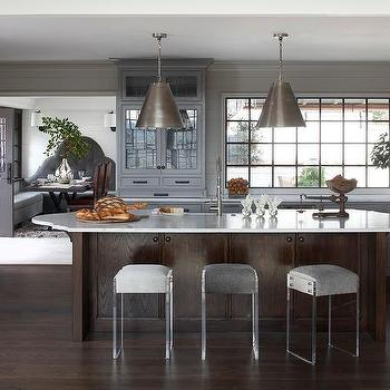 kitchen island lighting ideas pictures kitchen remodel dark stained kitchen island with oval countertop and backless lucite stools lighting ideas design