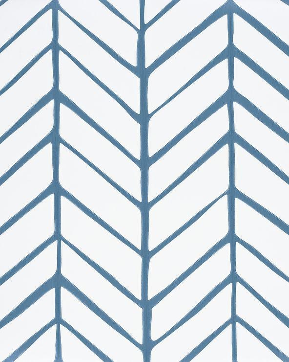 Blue And White Herringbone Wallpaper