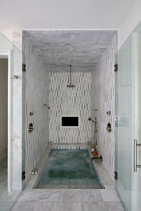 Spa Like Shower With Sunken Tub And TV