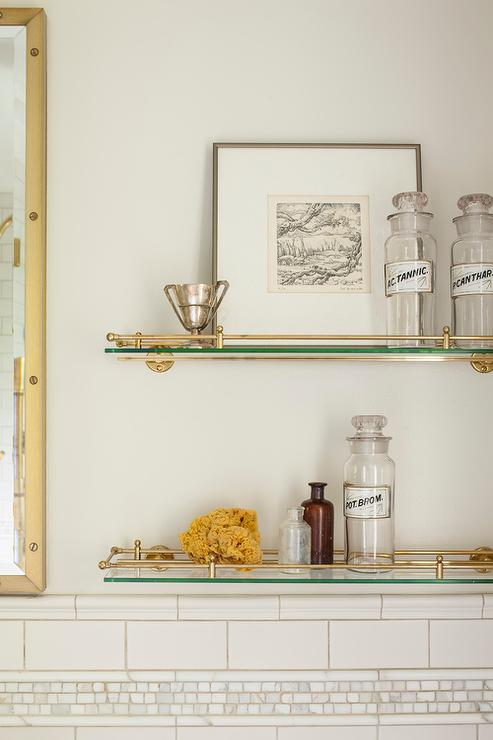 Glass And Brass Vintage Glass Shelves Above Toilet Transitional Bathroom