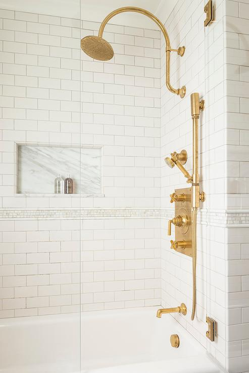 Tub And Shower Combo With Aged Brass Vintage Gooseneck