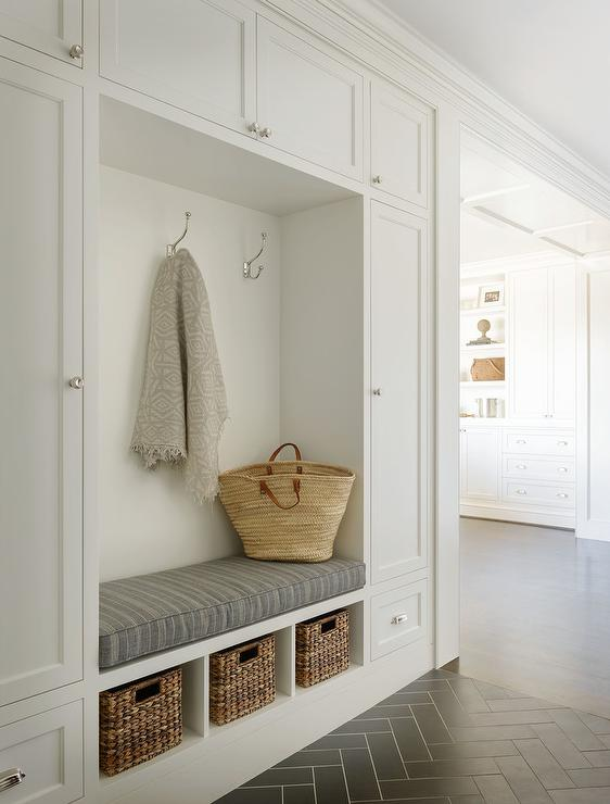 White and Gray Mudroom with Gray Herringbone Floor Tiles ...
