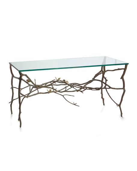 Butterfly Detail Glass Console Table