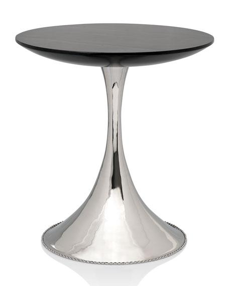 Fresh Black and Silver Pedestal Accent Table AE43