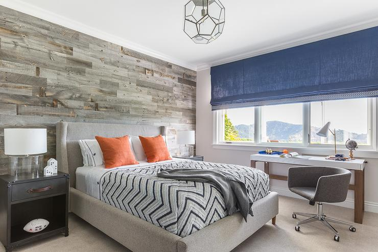 Contemporary Cabin Boys Bedroom with Plank Accent Wall