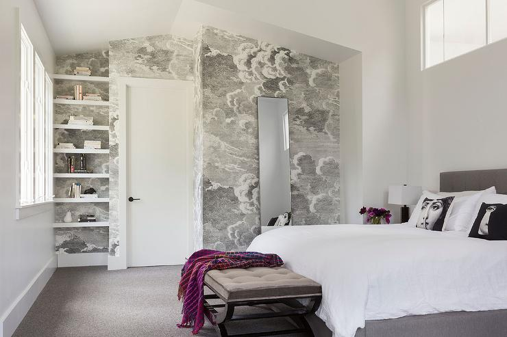 Gray Bedroom With Fornasetti Nuvole Wallpaper Contemporary Bedroom
