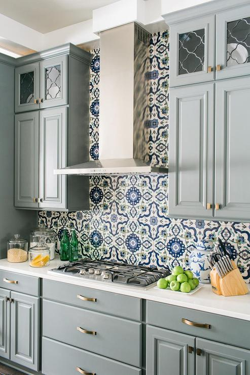 Gray Mosaic Kitchen Backsplash That Goes All The Way Up To The ...