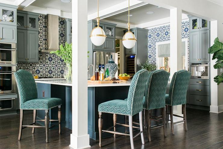 Blue Kitchen Island With Green Velvet Upholstered Counter Stools
