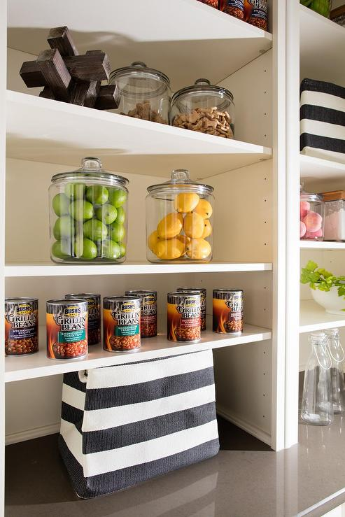 Modular Kitchen Shelving Units With Gray Awning Stripe Bins Transitional Kitchen