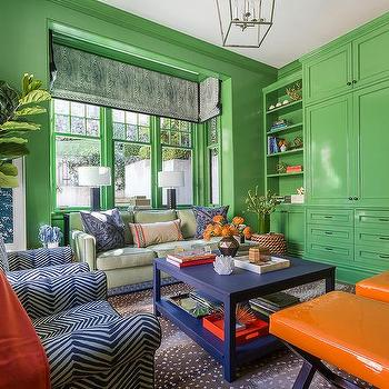 Blue Orange Green Living Room Design