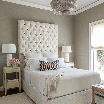 tall cream tufted headboard design ideas