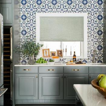 Blue And Gray Kitchen With Fireclay Grandola Tile