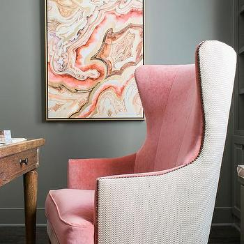 Pink And Gray Office With Pink Velvet Two Tone Wingback Chair