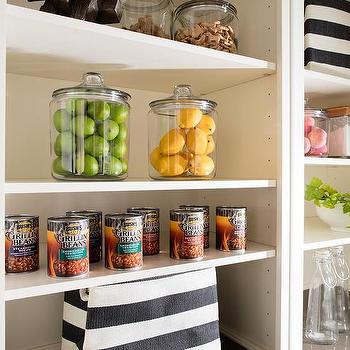 Modular Kitchen Shelving Units With Gray Awning Stripe Bins