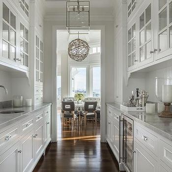 white galley butlers pantry with white beadboard trim backsplash - Butler Pantry Design Ideas
