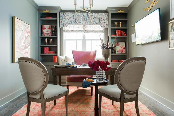 Pink And Gray Office With Built In Window Seat And Gray