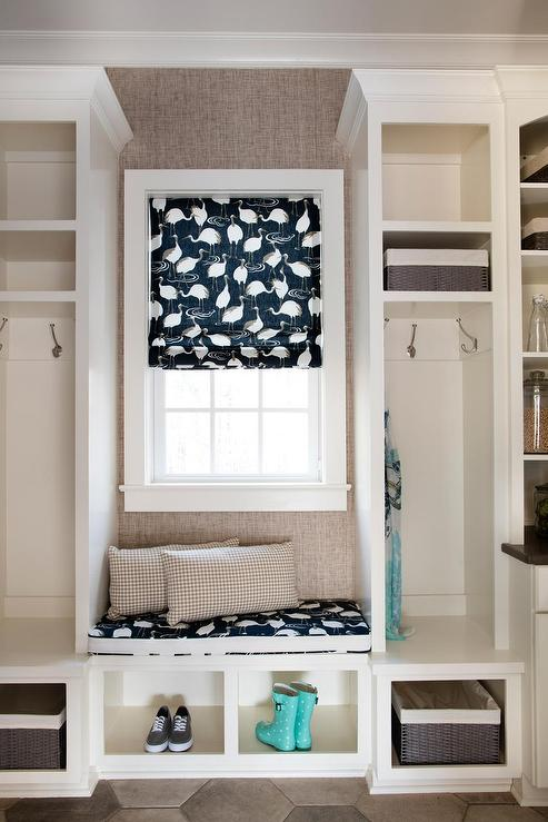 Built In Window Seat In Mudroom Transitional Laundry Room