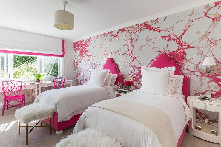 Pink Accent Wall silver and pink girls bedroom with hot pink headboards