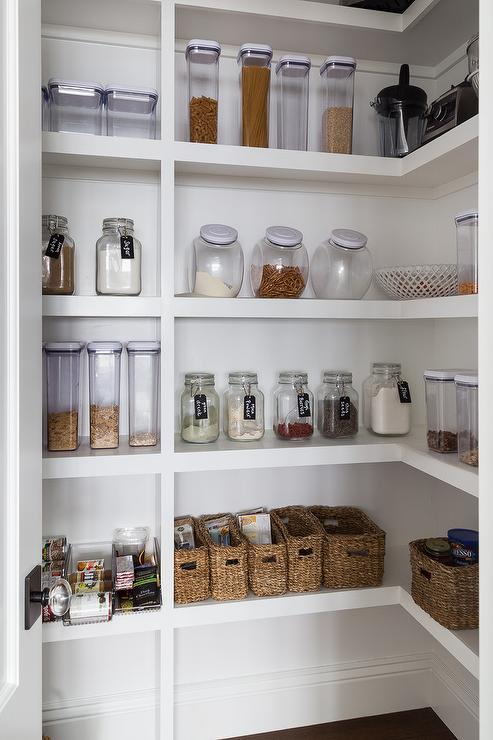 White Stacked Pantry Shelves with Labeled Mason Jars - Transitional ...