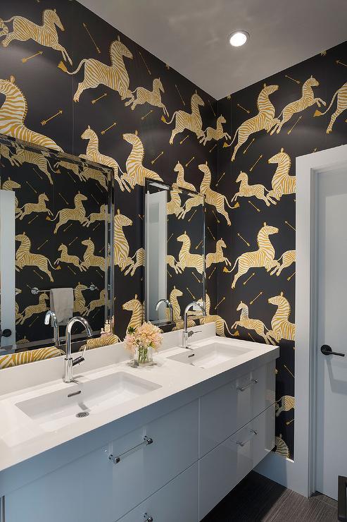 Bold Floral Wallpaper Powder Room