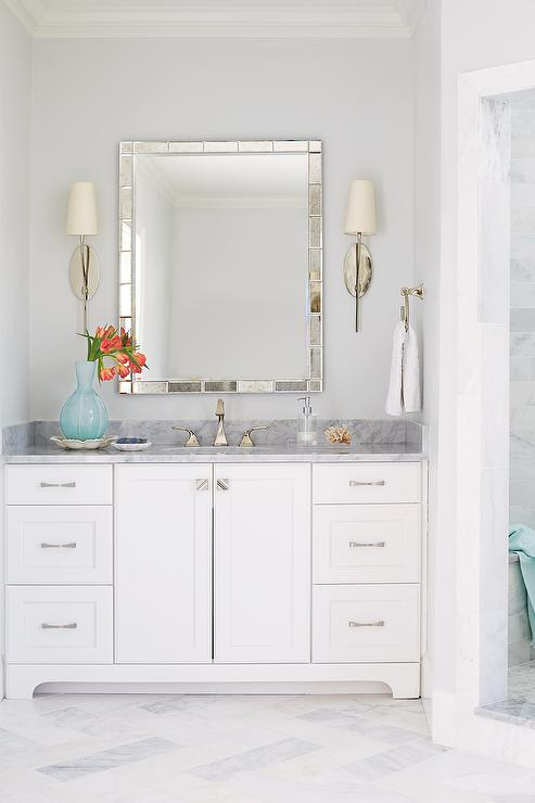 Bathroom with Antiqued Mirror Tile Vanity Mirrror view full size Bath Nook Design Ideas
