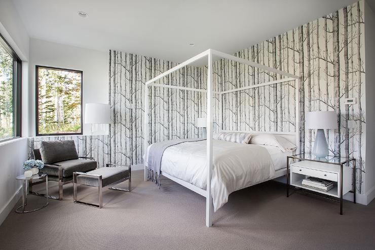 white canopy bed with woods wallpaper - contemporary - bedroom