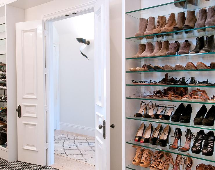 Walk In Closet With Bi Fold Doors With Glass Shoe Shelves