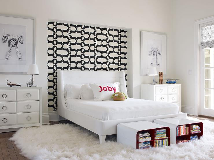 Black And White Wallpaper On Headboard Wall Nook Modern Boy S Room