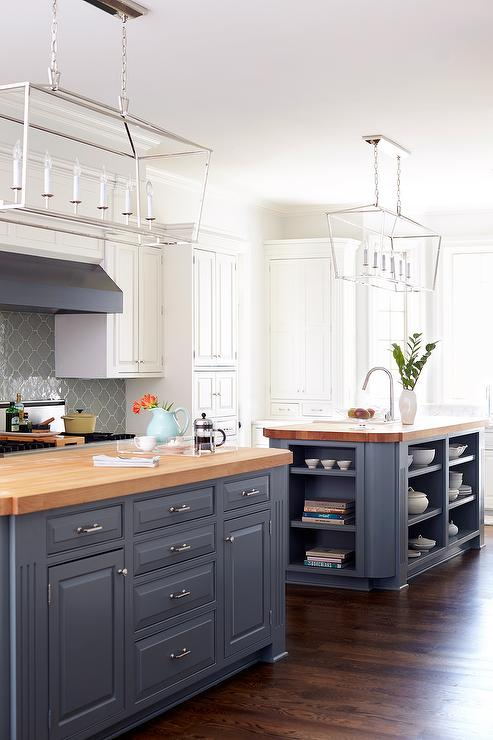 Blue gray kitchen islands with maple butcher block for Grey blue white kitchen